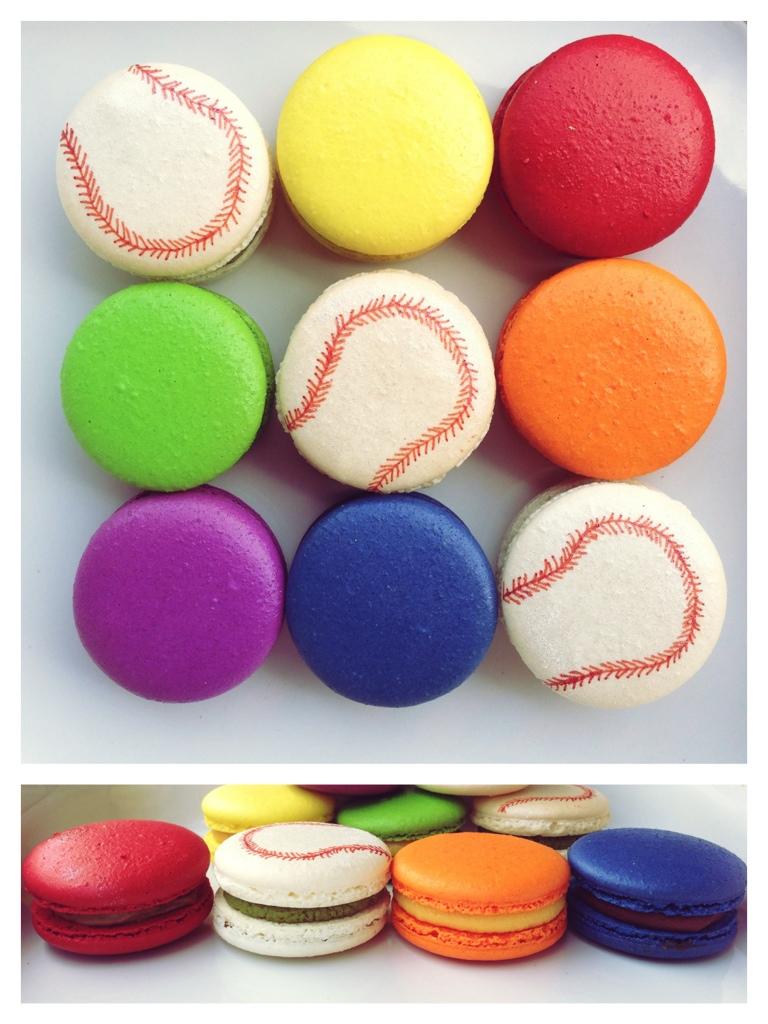 rainbow, baseball, macarons