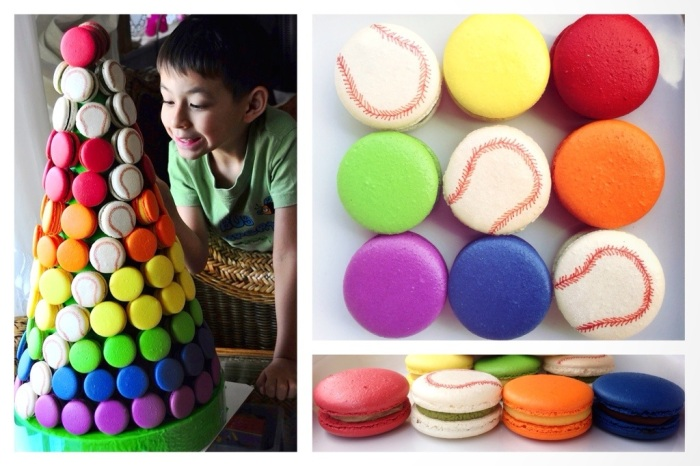 I can see a rainbow … (and baseballs?) – yes it's 7 colour wedding macaron tower