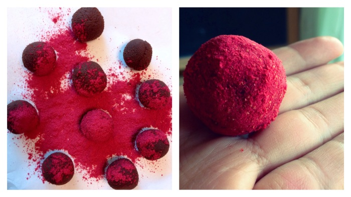 Maybe it is too sharp for some people. But I truly love them – Raspberry Dark Chocolate Truffles (dairy free)