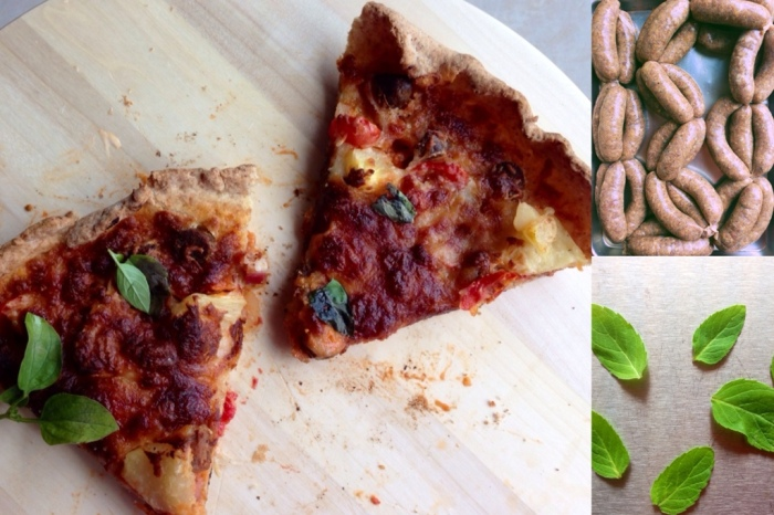 Crispy pizza with merguez and pork sausages  – all home made and all gluten free